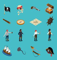 pirates isometric icons vector image