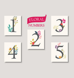 set of beautiful flowers and numbers for wedding vector image