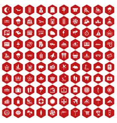 100 seaside resort icons hexagon red vector