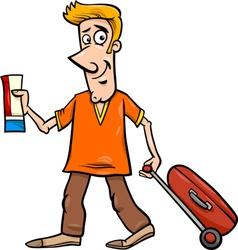 man with flight ticket cartoon vector image