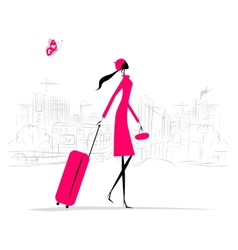 Fashion woman with suitcase cityscape background vector