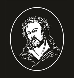 Jesus with crown of thorns vector