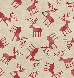 Retro Christmas seamless pattern with funny deers vector image