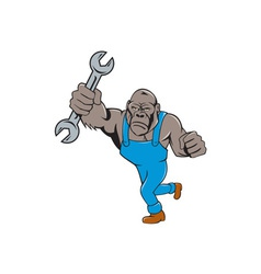 Angry gorilla mechanic spanner cartoon isolated vector