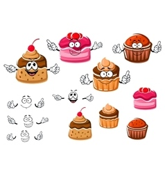 Chocolate cupcakes and caramel pudding vector
