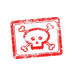 Rubber grunge stamp skull and bones symbol vector