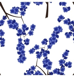 Seamless pattern with blue cherry flowers vector image