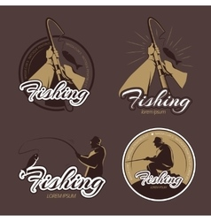 Vintage fishing club emblems and labels vector