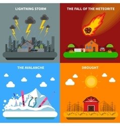Disaster concept 4 flat icons square banner vector
