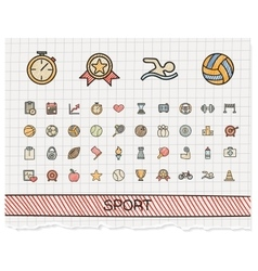 Sport hand drawing line icons doodle vector
