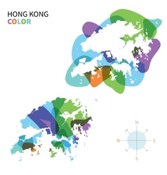 Abstract color map of hong kong vector