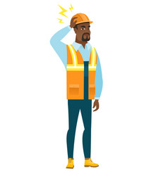 african builder with lightning over his head vector image vector image