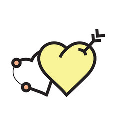 Arrow on two heart icon yellow vector