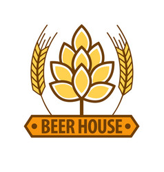 Beer house drink label flat design art pattern on vector