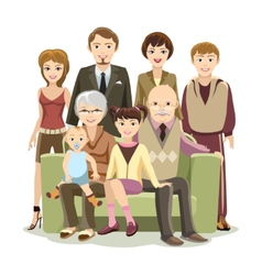 Cartooned Big Happy Family at the Sofa vector image