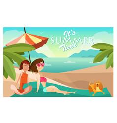 couple girls on a beach cartoon vector image vector image
