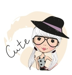 Cute girl with glasses vector image vector image