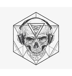 Dotwork skull art vector