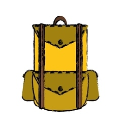 Drawing backpack travel hiking equipment camping vector