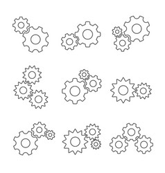 gear outline flat set vector image vector image