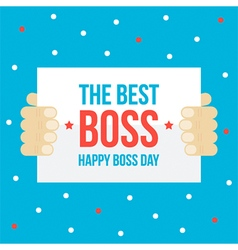Happy boss day card flat design vector image vector image