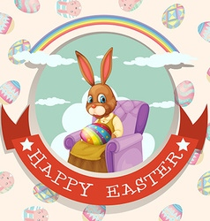 Happy easter day with rabbit on the chair vector