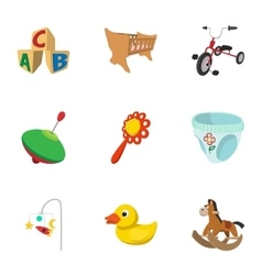 Kind of toys icons set cartoon style vector