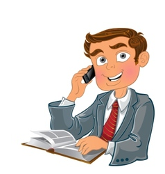 Men with phone and book vector