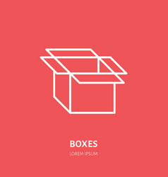 open box flat icon cardboard product vector image vector image