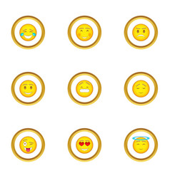 people emoticons icons set cartoon style vector image vector image