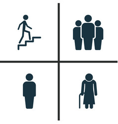 people icons set collection of ladder old woman vector image