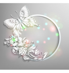 Round frame with butterfly and flowers with effect vector