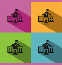 School building icon with shadow on colored vector