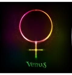 Shining neon light venus astrological symbol vector
