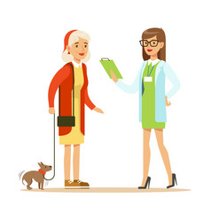 Smiling woman and her small dog at the veterinary vector