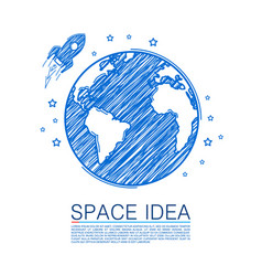 Space idea drawing on paper vector