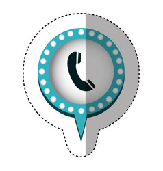 sticker of telephone in circular speech with blue vector image