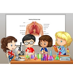 Students doing science labs in room vector image vector image