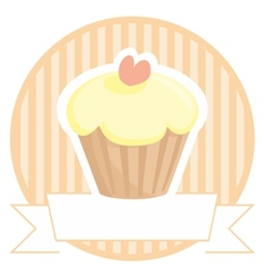Sweet lemon cupcake with pink heart on stripes vector image vector image