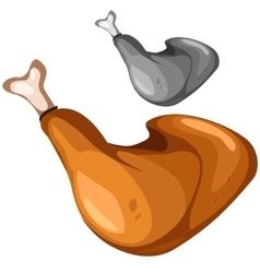 Delicious grilled chicken leg closeup food vector image