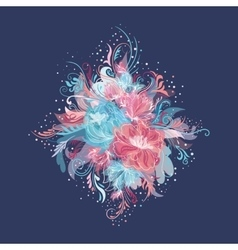 Enchanted flowers vignette in pink and blue colors vector