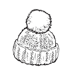Bright winter knitted hat with pompon vector