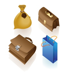 Isometric icon of various bags vector image