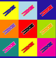 Clothes peg sign  pop-art style colorful vector