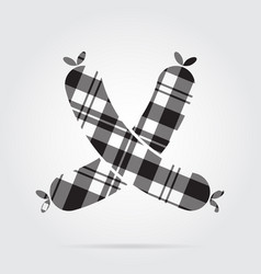 Grayscale tartan icon - two crossed sausages vector