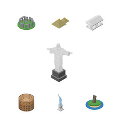Isometric architecture set of athens rio england vector
