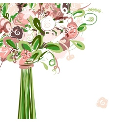 Wedding card with floral bouquet for your design vector image