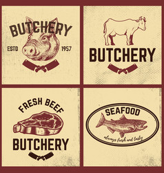 Set of butchery meat store seafood posters set vector