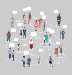 People group conncetion different occupation set vector