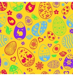 Seamless pattern of Easter eggs vector image